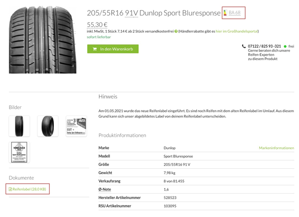 EU-Reifenlabel Reifen Produkt-Detailseite